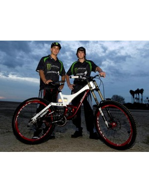Sam Hill with team mate Brendan Fairclough