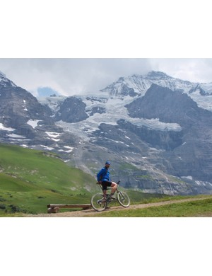 The iconic peaks of the Bernese Oberland on the Alpine Bike mountain bike route