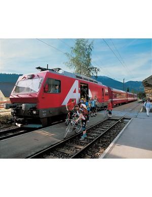 Loading bikes onto the train on Alpine Panorama Route 4