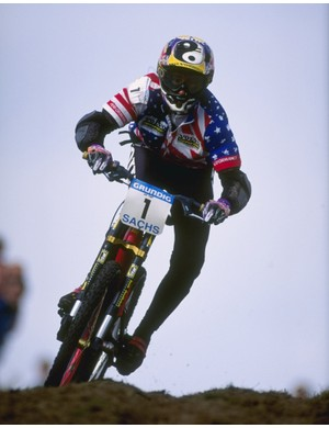 Giove in action at the World Mountain Bike Championships in 1995