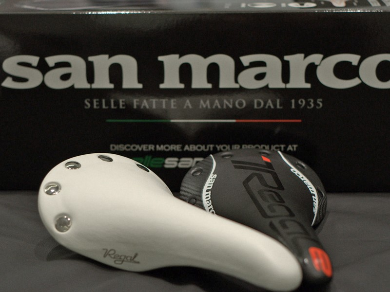 The new 2010 Selle San Marco Regal Vintage (left) and ultra-light REGALe Carbon FX