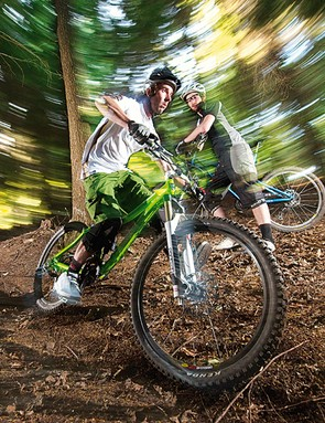 Rob demonstrates the correct body position for riding off-camber terrain