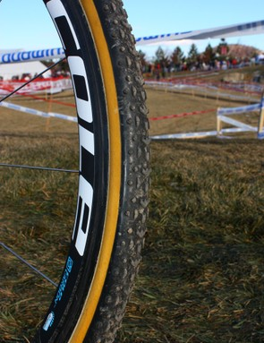 Relatively shallow Cole carbon rims are wrapped with Challenge Grifo tubulars