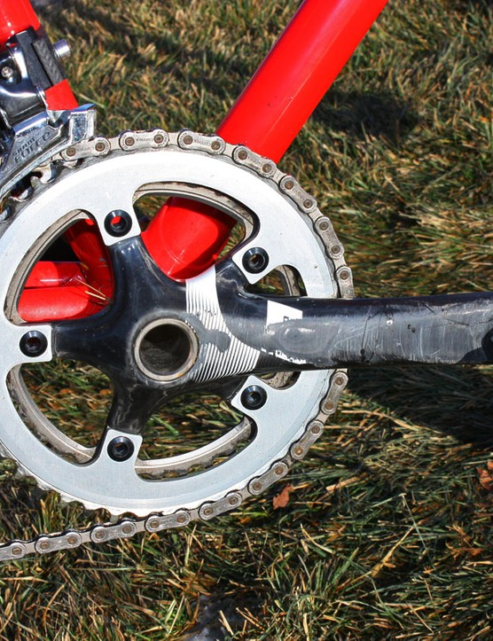 Timmerman's SRAM Force crankarms show the signs of a tough season
