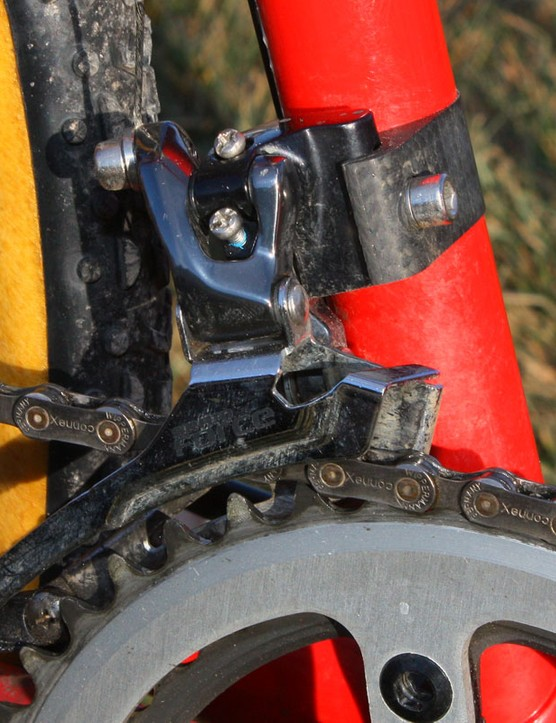 The Force front derailleur is attached to a carbon fibre braze-on adapter from Parlee