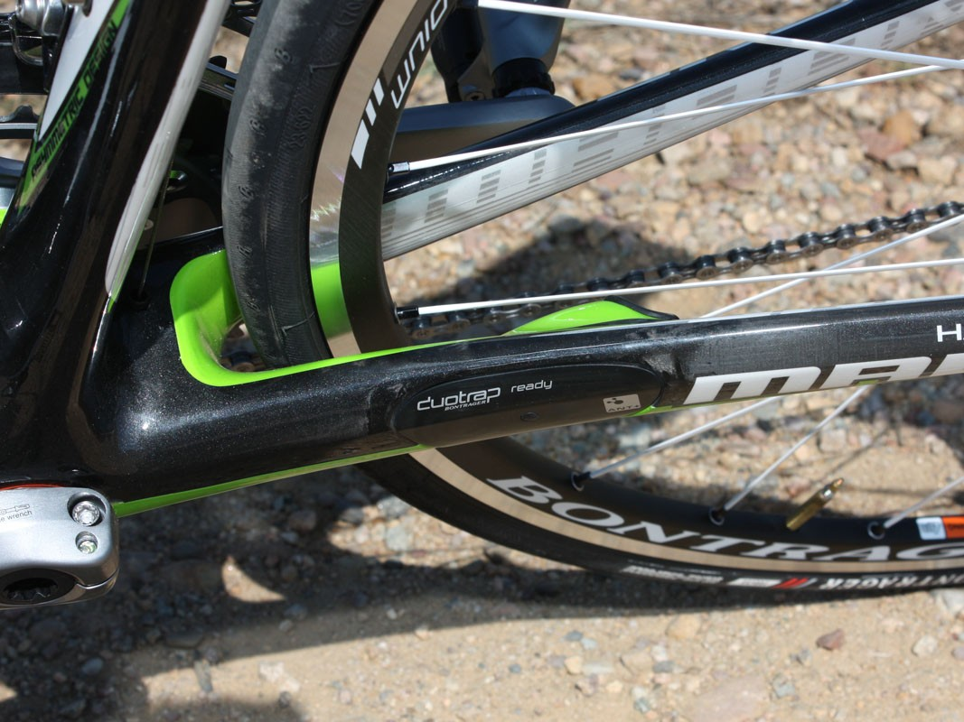 The non-driveside chain stay's trick pocket readily accepts Trek's DuoTrap wireless speed and cadence sensor for a neat and integrated appearance