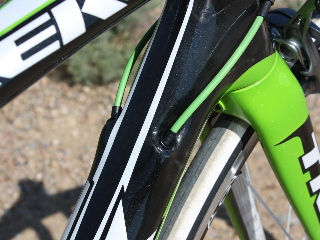 Cable routing is internal for a clean appearance and protection from the elements but the actual cable paths are almost exactly identical to traditional down tube routing for minimal friction