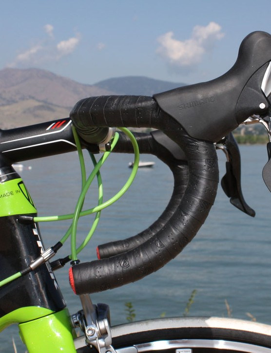 Bontrager's VR-bend Race Lite aluminum handlebar provides more positioning flexibility than a traditional anatomic bar