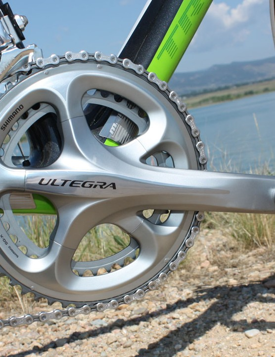 The new Ultegra crankset is a near-copy of Dura-Ace with similarly superb outer chainring stiffness and shifting precision.
