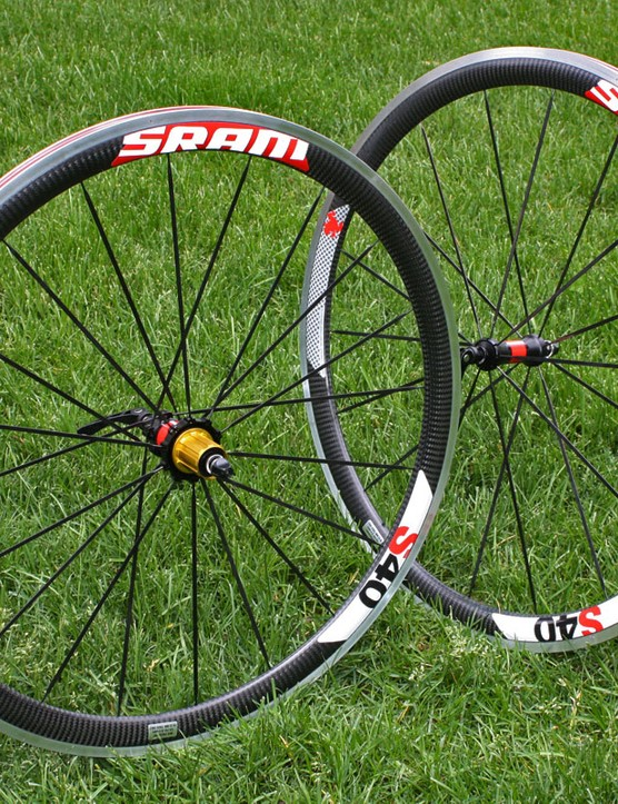 SRAM's S40 wheels use a 40mm-deep hybrid toroidal aluminum-and-carbon clincher mated to alloy hubs with bladed stainless steel spokes