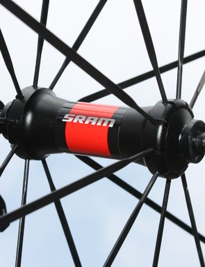 Bladed straight-pull spokes anchor into an aluminum hub shell