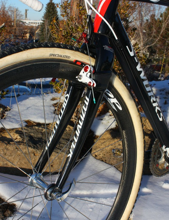 The massive Specialized S-Works Tricross carbon fork isn't the prettiest thing on the block but Wells says it tracks extremely well and is rock-solid under braking and yet is still very comfortable