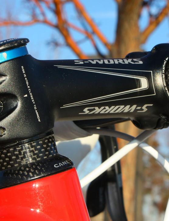 Wells runs his Specialized S-Works Pro-Set stem at the -13° position