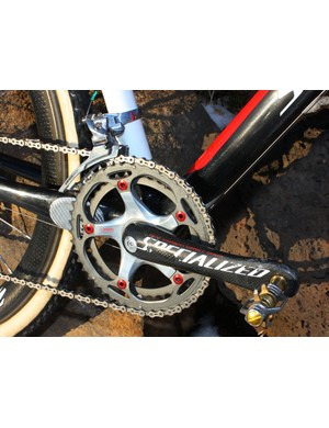 Wells' ultralight S-Works carbon crank is fitted with 39/46T SRAM chainrings.