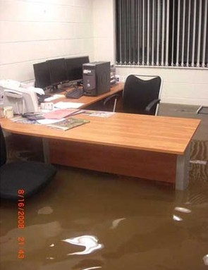 Managing Directors Chris's office following the flood in August 2008