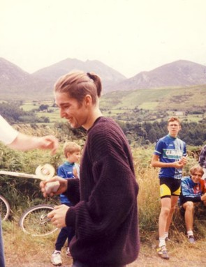 Chris awarding Michael with 1st prize in the 1st ever CRC downhill race