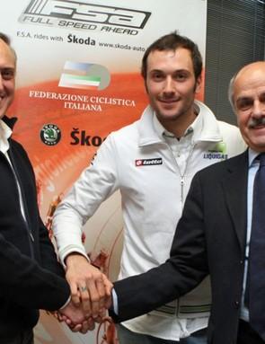 Claudio Marra (general manager of FSA), Ivan Basso (Liquigas) and Renato di Rocco (FCI president)