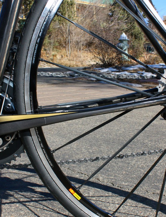 Chain stays are radically flattened to lend more vertical flex to the rear end