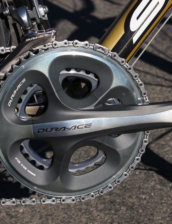 One of the jewels of the new Dura-Ace group is the crankset with its ultra-stiff - and thus ultra-smooth shifting - outer chainring design  Compact gearing is optional across the board