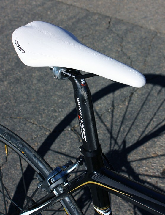 The Ritchey Superlogic carbon post was topped with a house brand saddle on our tester but production models are supposed to come with a carbon-railed fi'zi:k Arione CX