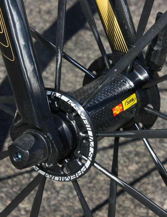 A carbon shell helps take weight off of Mavic's Ksyrium SL Premium