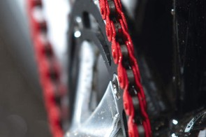 The Plug Racer is fitted with Charge's own eye-catching red-painted half  link chain