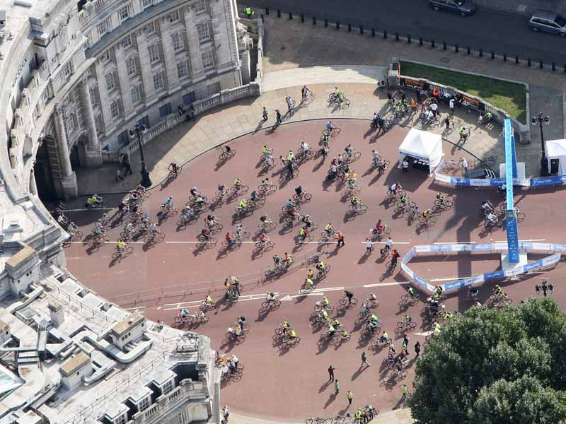 Cyclists took over the streets of London in the Skyride in 2009