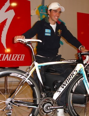 Contador with his new Specialized S-Works Tarmac SL3