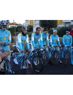 Contador and his Astana teammates ready for a training ride in Calpe, Spain
