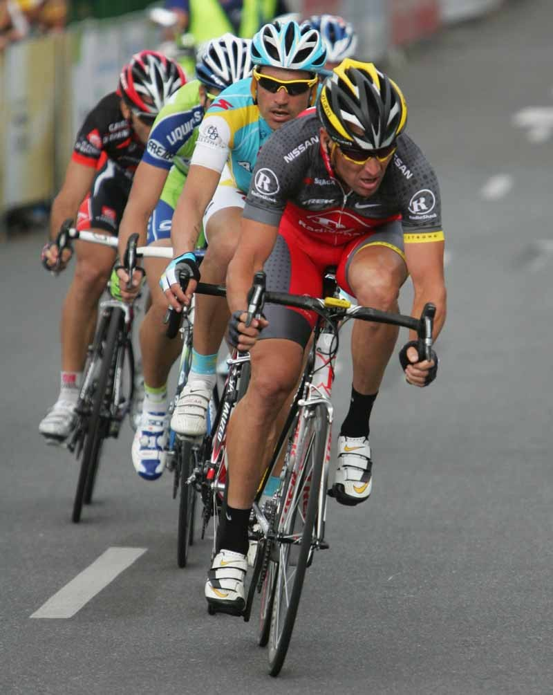 Lance Armstrong in action during the Cancer Council Classic
