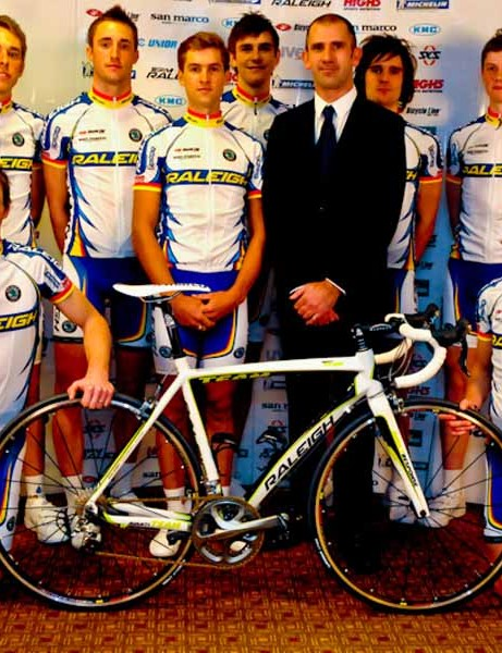 Team Raleigh manager Chris Truett and the riders