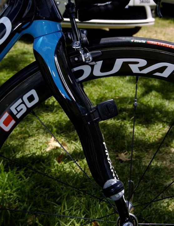 The Pinarello fork has the SRM sensors strapped to it