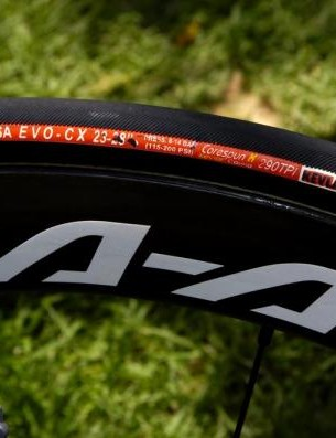 The rims may be prototypes, but the Vittoria Corsa EVO tubular tyres are proven winners
