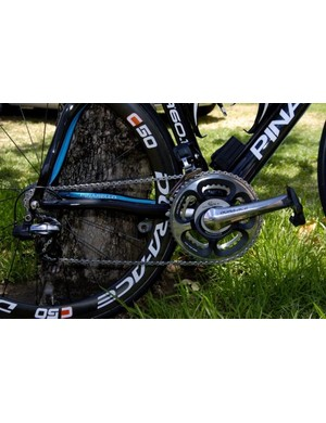 Team Sky run an all-Shimano drivetrain complete with SRM