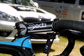 The Deda Zero100 stem on Swift's Pinarello Dogma is 135mm long