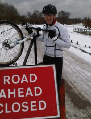 Lee Dixon caught offside by snow in Richmond Park...