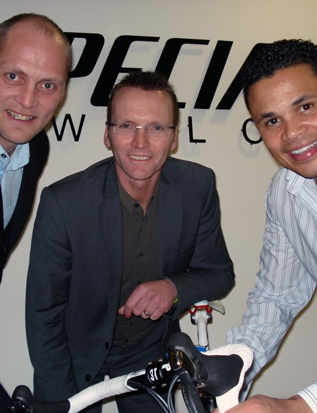 Magnus Backstedt, Geoff Thomas and John Salako at the London-Paris 2010 launch