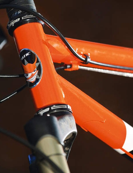 the tough new head tube is  gusset supported under the  top and down tube junctures