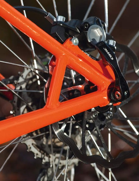 New cowled drop-outs trim weight, and stays are bridged for extra disc brake support