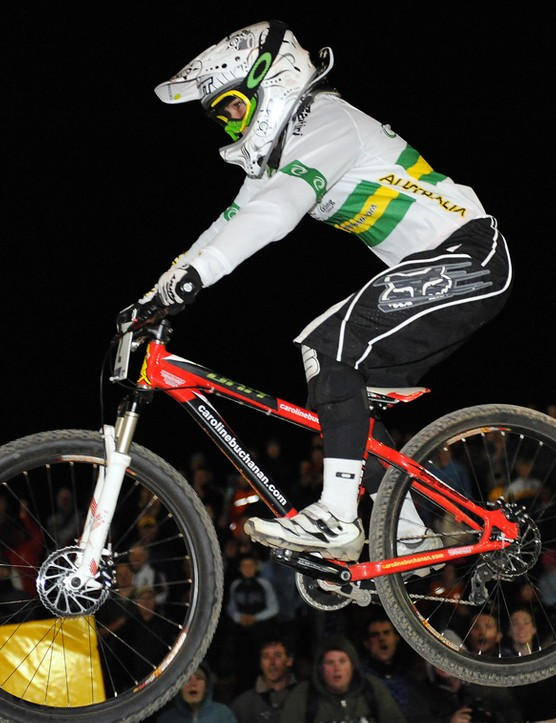 Buchanan in action at the 2009 Mountain Bike & Trials World Championship in Canberra, Australia