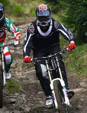 Body position is key – keeping your knees bent and elbows out will help cushion the ride