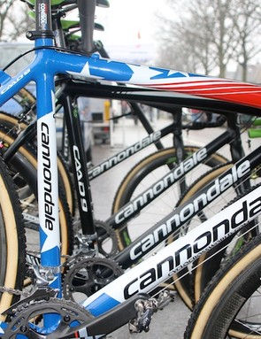 The white and blue Cannondale Caad 9 Cyclocross commemorates Johnson's sixth national championship.