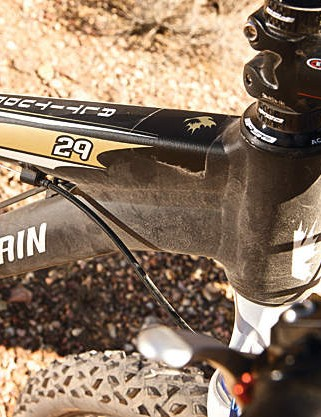 The tapered head tube takes internal bearings for a low front end