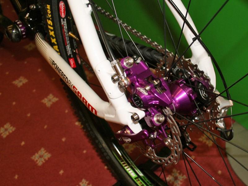 Custom purple parts on Hope team cross-country bike