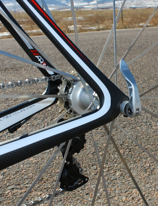 The chain stays and seat stays are molded together with the carbon dropouts for a truly seamless piece