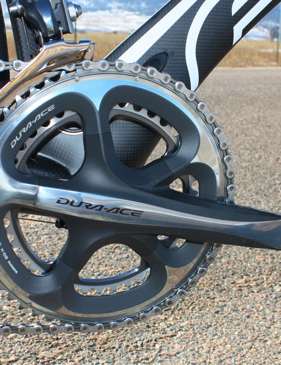 The Shimano Dura-Ace crank rotates on a set of standard thread-in cups