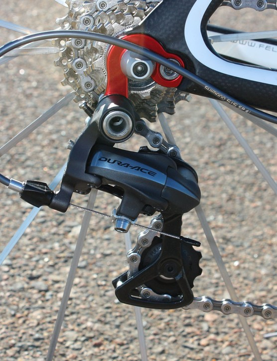 The Dura-Ace rear derailleur is affixed to a replaceable hanger