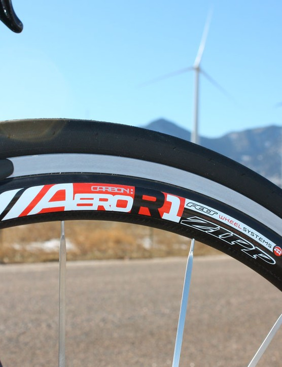 The included Felt Aero Road 1 clinchers are essentially rebadged Zipp Flashpoint FP40s  Though somewhat heavy, they're quite stiff and maintain speed very well