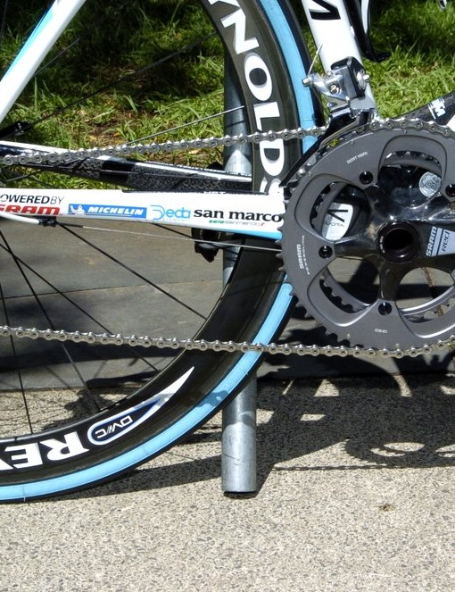 Turpin's bike is fitted with the PG1070 cassette, which is preferred in some cases due to its durability and quieter running.