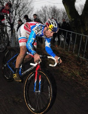 Johnson debuted his new bike, and kit, at World Cup finals in Hoogerheheide, Netherlands.